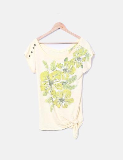 Camiseta amarilla estampada Bershka