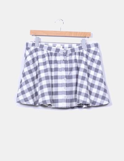 Falda mini de cuadros blanca y gris Levi's