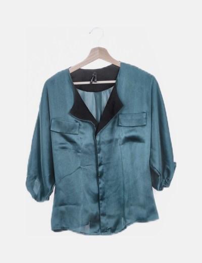 Camisa de gasa satinada verde