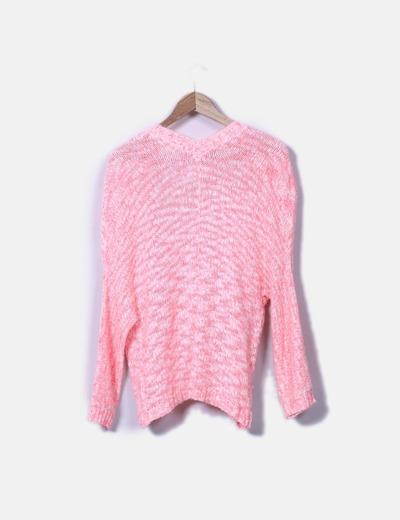 Cardigan oversize punto rosa fluor