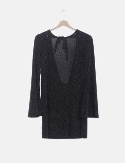 Vestido negro glitter espalda abierta
