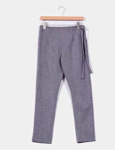 Pantalón gris jaspeado con lazo lateral NoName