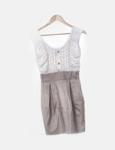 Vestido combinado beige y blanco