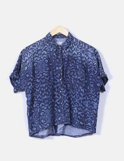 Camisa denim oscura jaspeada Lefties