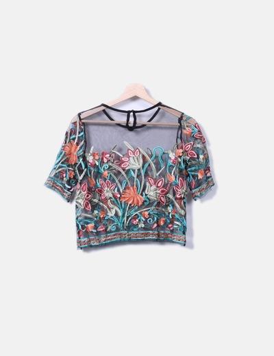 Blusa estampado floral semitransparente