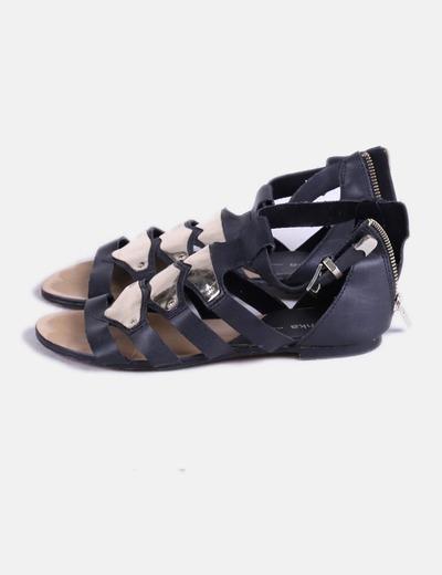 Sandalias Negras Metálizadas Placas Con If76mYvbyg
