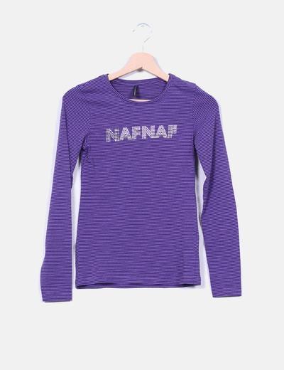 Naf Naf Top logo avec strass rayé (réduction 83%) - Micolet 678d82b7932