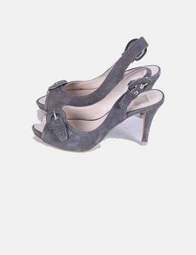 Zapatos peet toe antelina gris Zara
