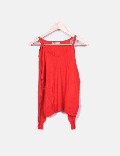 Suéter tricot rojo con aberturas Zara