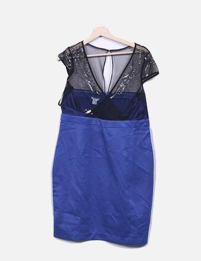 Vestido azul klein con malla negra Suiteblanco