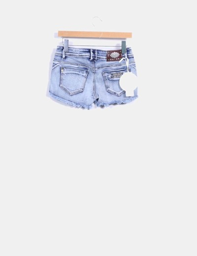 Short denim efecto destenido