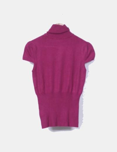 Top tricot frambuesa cuello vuelto