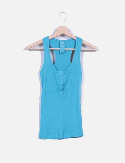 Camiseta básica azul turquesa Bershka