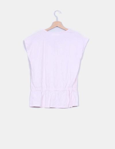 Camiseta basica rosa ballet detalle fruncido