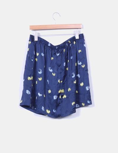 Mini falda satinada azul marino