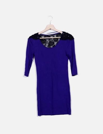 Vestido morado combinado encaje Primark