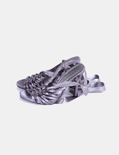 Sandalias raso gris con lazos Cruz Pradera
