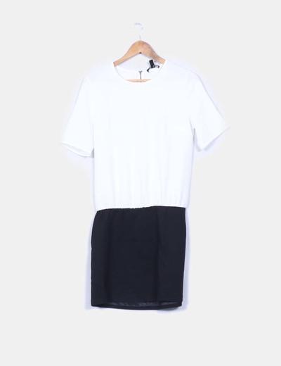 Vestidos mango blanco y negro