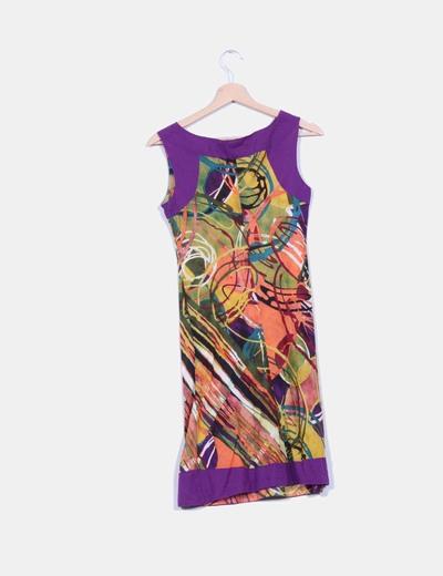 Vestido recto estampado artistico