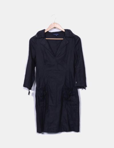 Robe noire cou ruché Adolfo Dominguez