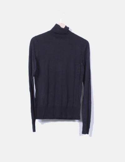 Jersey tricot negro cuello vuelto Tex Woman