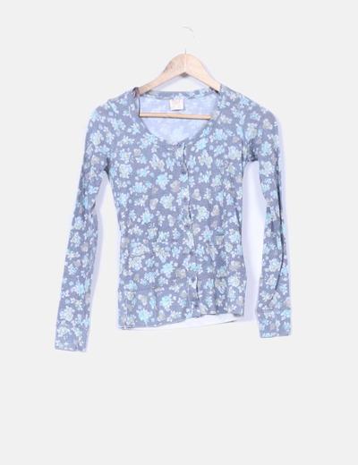 Cardigan gris marengo estampado floral Pull&Bear