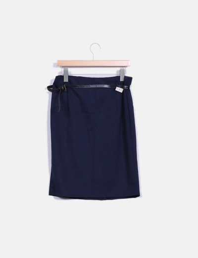 Falda midi azul marina