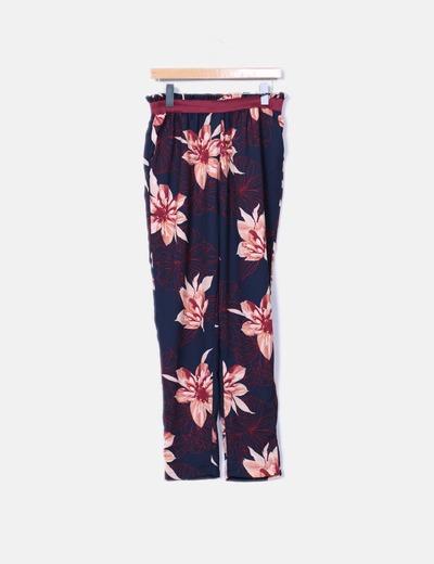 Pantalon azul estampado floral
