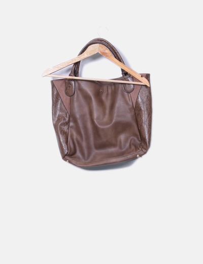 Bolso shopper marron combinado