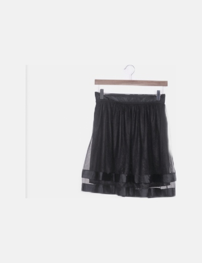 Falda gasa combinada negro