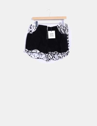 Shorts combinado terciopelo negro con cremallera Some days lovin
