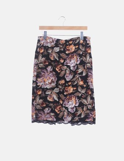 Falda midi estampada con encaje