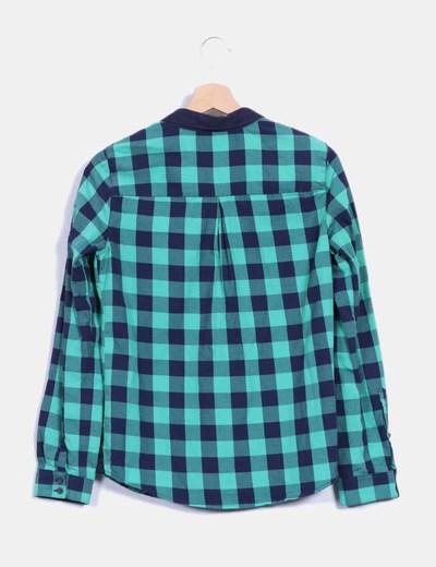 Camisa de cuadros azul y verde
