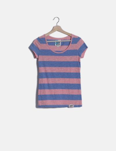 Camiseta de rayas rosa y azul