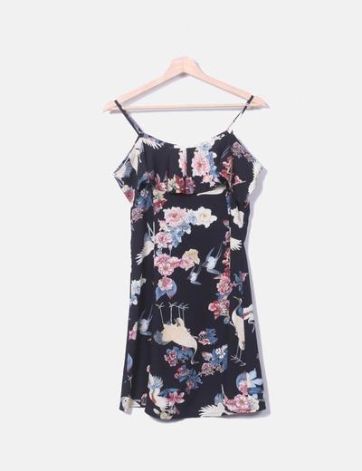 Vestido negro estampado floral Vintage Love