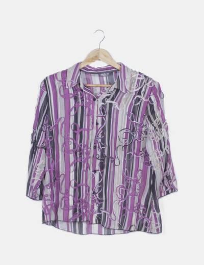 Camisa rayas multicolor combinada glitter