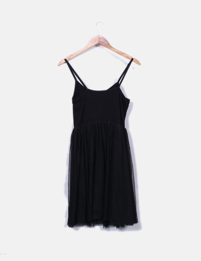 Vestido negro tirantes combinado