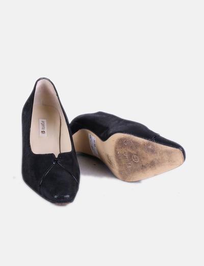 Zapato negro tacon brillos