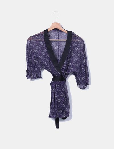 Blusa seda morada estampada Zara