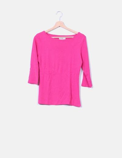 Top básico algodón fucsia manga francesa Zara