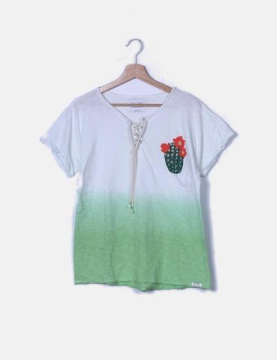 Camiseta degradado blanco a verde print