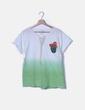 Camiseta degradado blanco a verde print Dear Tee
