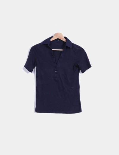 Top azul marino manga corta  Massimo Dutti