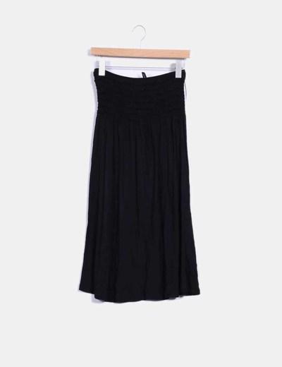 Vestido negro palabra de honor elástico H&M