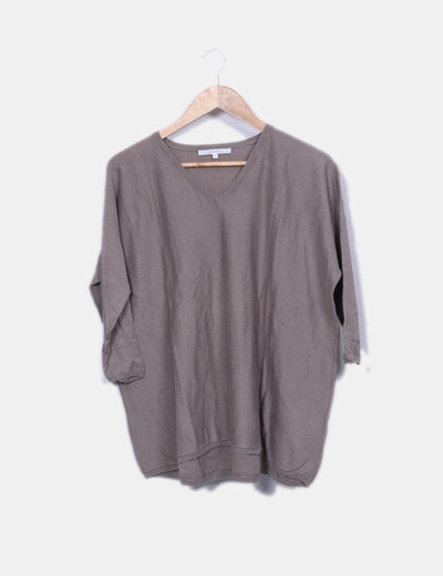 Pull en tricot couleur taupe Sud*express