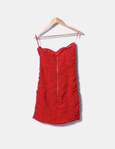 H M Robe rouge à volants avec décolleté bustier (réduction 88%) - Micolet fc8c0a821b04