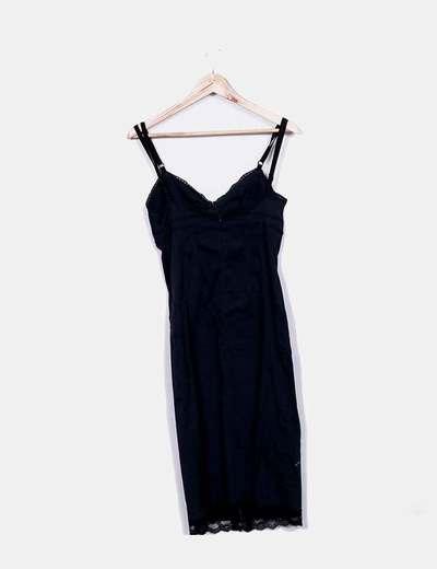 Vestido midi negro combinado encaje