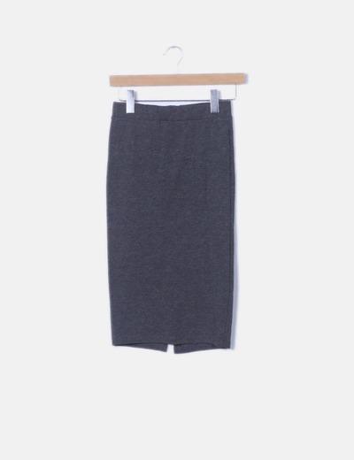 Falda tubo gris oscuro