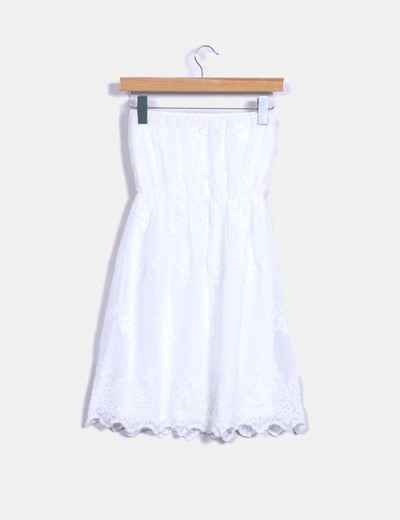 Vestido midi blanco escote palabra de honor