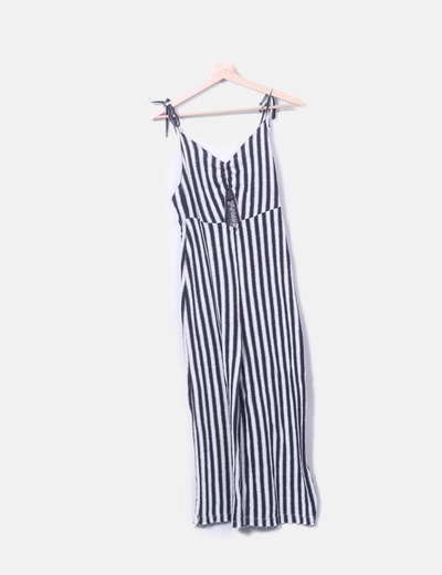Navy blue striped knit jumpsuit Pull&Bear
